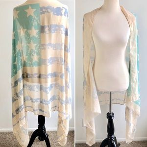 Accessories - 4 FOR $20! Americana Flag Shawl Cover Up.